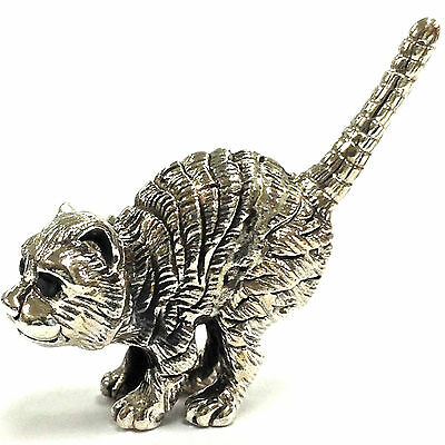 Collectable Victorian Style Crouching Cat Emerald Figurine 925 Sterling Silver