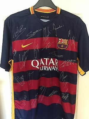 Brand New Genuine Signed Barcelona 2016 Club Shirt By The 2016 Squad With COA