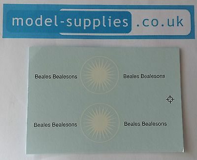 Matchbox Lesney 46b Removal VanBeales BealesonsWaterslide Transfer//Decal