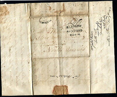 "GB 1812 ""PAID AT GLASGOW"" entire manuscript ""20"" posted to Pennsilvania U.S.A"