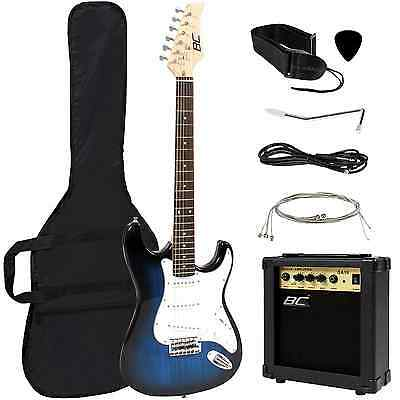 Full Size Blue Electric Guitar with Amp, Case and Accessories Pack Beginner Star