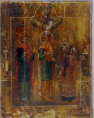 Greek Icon. Saints. Oil On Board. 19Th Century.