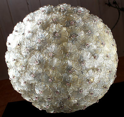 GRAND GILT FLOWERS BAROVIER & TOSO VENETIAN CHANDELIER CEILING LAMP 1950s 1960s