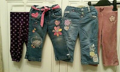 Girls trousers denim velour bundle me to you, next, tu, hm 12-18 months great