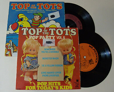 "Top of The Tots 2x 7"" Vinyl YMCA Monster Mash Remember your a Womble Pop hits"