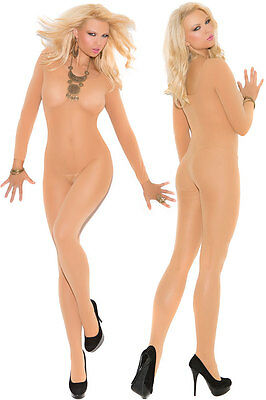 QUALITY SEDUCTIVE Nude LONG SLEEVE Bodysuit BNWT Catsuit Bodystocking Lingerie