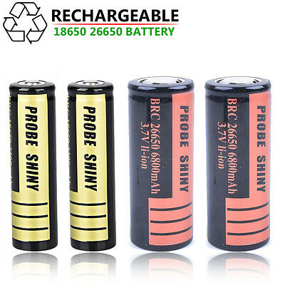 2pcs 18650 26650 3.7v Li-ion BRC Rechargeable Battery For LED Flashlight Torch