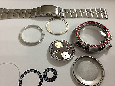 New Seiko Bull Head 6138-0040 Gents Complete Watch Case,& Strap.brown/gold Dial