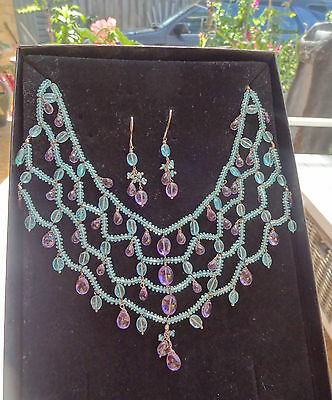 Amy Kahn statement necklace and earring set silver 925 precious gems RRP $500