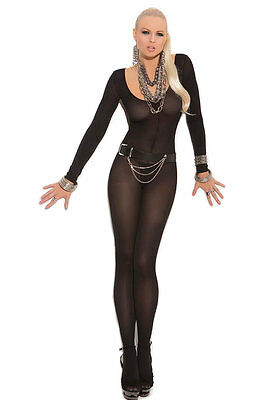 QUALITY BLACK LONG SLEEVE Bodysuit BNWT Tights Catsuit Bodystocking Lingerie