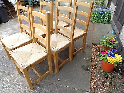 A Set Of Six Solid Beech/oak Ladder Back Rush Seated Chairs   Delivery Available