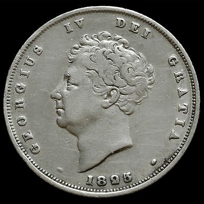1825 George IV Bare Head Milled Silver Shilling – AVF #2