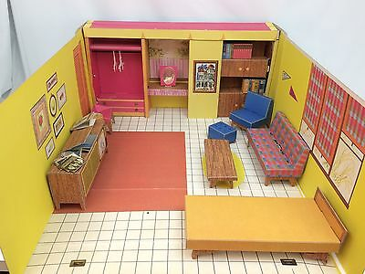 Vintage Mid Century Barbie Dream House 1962 With Furniture