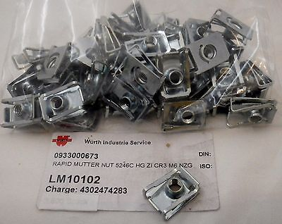 Lot 50 écrous à clips tôle ,pinces M6-1.0 Würth
