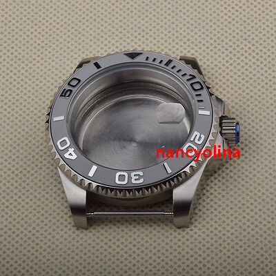40mm sapphire glass Silver number Rotate bezel Watch Case Fit 2824 2836 Movement