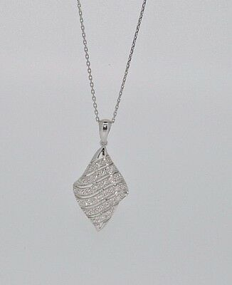 9ct white gold marquise shaped diamond cluster pendant NEW