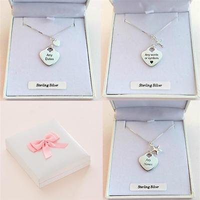 Engraved Silver Heart Necklace. Personalised Engraving, Star, heart or cross