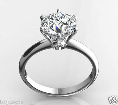 2.00 Round Cut White Diamond Solitaire Engagement Ring 14k Solid White Gold