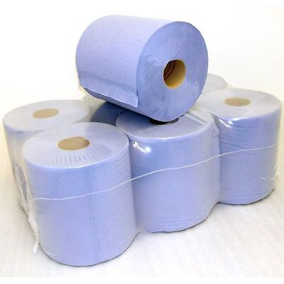 6 Pack 2 Ply Blue Centre Feed Paper Embossed Wiper Rolls ** Special Price **