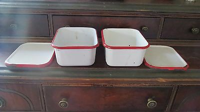Lot of 2 Enamelware Country Kitchen Refrigerator Pans with Lids White w/Red Trim