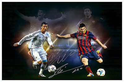 Lionel Messi & Cristiano Ronaldo Autographed Signed Collage Photograph Poster