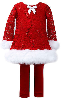 Bonnie Jean Baby Girls Red Sequined Lace Xmas Santa Dress Leggings Faux Fur 12m