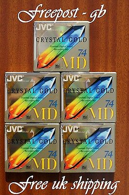 5 x JVC RECORDABLE BLANK MINIDISCS - 74 MINUTES CRYSTAL GOLD - BRAND NEW BOXED