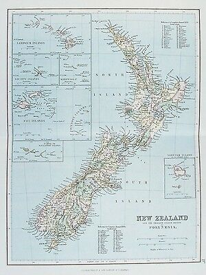 OLD ANTIQUE MAP NEW ZEALAND POLYNESIA c1879 by G PHILIP PRINTED COLOUR