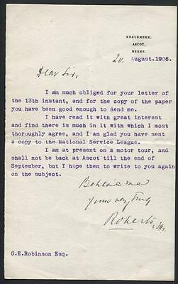 1906 typed letter signed by Rt Hon Field Marshall Sir Frederick Roberts with CoA