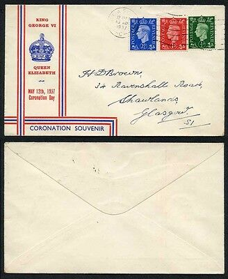 KGVI 1/2d 1d & 2 1/2d illustrated FDC May 12th 1937