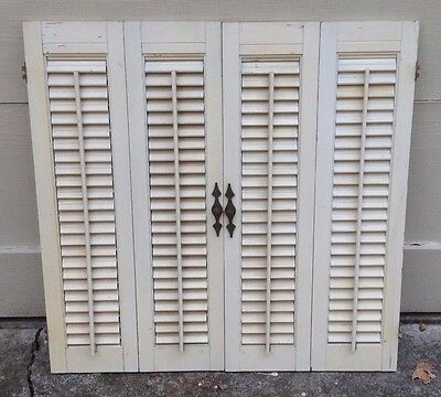 Vintage Solid Wood Interior Louver Plantation Window Shutters 14 1 2 H X 32 W Cad