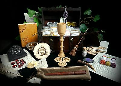 Witches Spell Keepers Chest with Wand Chalice Runes Altar Wicca Pagan Yule Gift