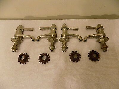 Lot Of 4 Vintage Nickel Plated Brass Central Hot & Cold Faucets, Auto Shutoff