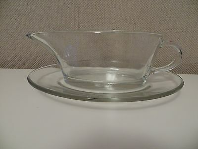 Jaj Pyrex Gravy Boat And Saucer Clear Glass Vintage