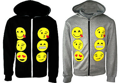 NEW Girls Boys Novelty Emoji Smiley Faces Emoticons Print Zip Hoodie Jacket