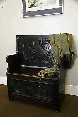 Victorian Carved Oak Settle/monks Bench/coffer - Seating - Storage - Hall