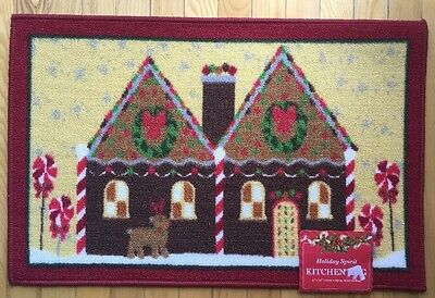 Nwt Kitchen Mat Gingerbread House Holiday Reindeer Christmas Children's Rug
