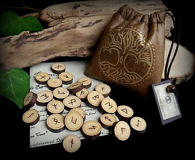 25 Witches Linden Wood Runes with Tree of Life Bag Pagan Wiccan Gift