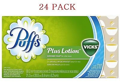 24 PACK Puffs Plus Lotion w The Scent Of Vicks Facial Tissues 88 Tissues Per Box
