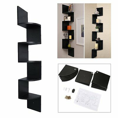 5Pieces Wall Mounted High Gloss Floating Corner Shelves Storage KIT Display Unit