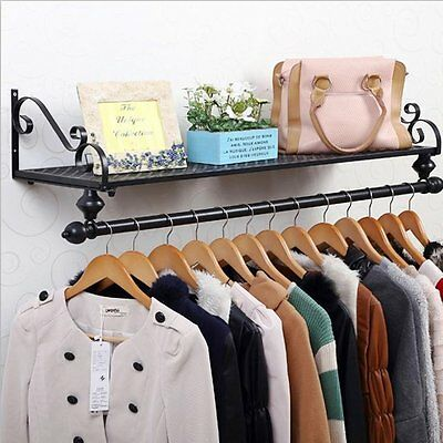 Clothing Display Shelf Wardrobe Hanging Rack Anti-Rust Iron Clothes Hanging Rail