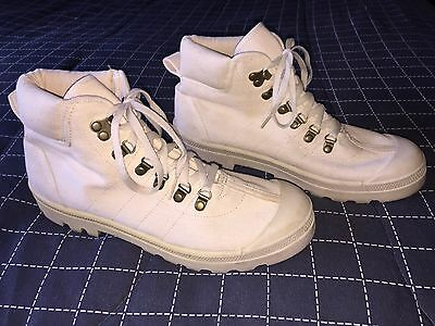 mens 10 vintage white canvas military hitop sneakers army ankle boots 9.5