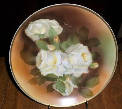 Handpainted Floral Plate White Floral Roses Signed Marked Simplicity!