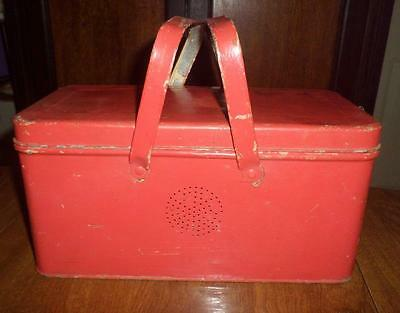 Old Red Tin Bread Box w Handles Vented Single Loaf Lunch Picnic Box Easy Carry!