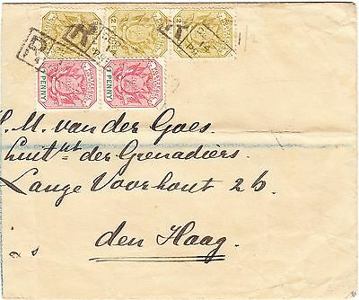 South Africa, Transvaal 1896 part registered cover from Pretoria to Netherlands