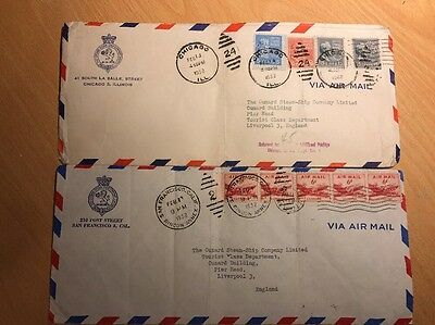 Old American Envelops With Stamps 1952