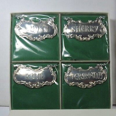 New NOS Antique Vintage GORHAM Sterling Silver Liquor Bottle Decanter Labels