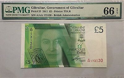 Gibraltar 5 Five Pounds, Pmg Gem Uncirculated 66 Epq Banknote, 2011 P-35