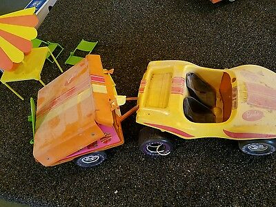 barbies going camping and dune buggy pop up camper