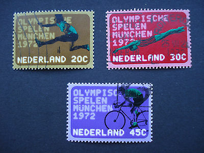 Set of 3 Used Stamps Netherlands, 1972 Munich Olympics